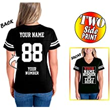 Tee Miracle Custom Cotton Jerseys For Women - Make Your Own Jersey T Shirts - Personalized Team Uniforms For Casual Outfit - V Neck