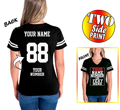 Custom Cotton Jerseys for Women - MAKE YOUR OWN JERSEY T Shirts - Personalized Team Uniforms for Casual Outfit - V (Cotton V-neck Football Tee)