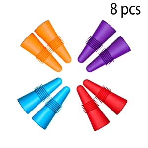 CNYMANY 8 pcs of Wine Stoppers, Reusable Silicone Beverage Bottle Sealer Replacement with Grip Top for Cork to Keep the Wine Fresh - Red, Purple, Orange, Blue