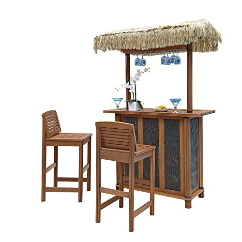 Home Styles 5662-988 Bali Hai Tiki Bar and Two Stools, Eucalyptus Finish