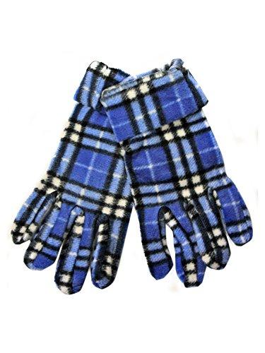 ブルー&ホワイトチェック柄フリース3 Piece帽子スカーフ&グローブセット