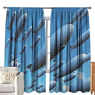 NUOMANAN Blackout Curtains for Bedroom Zeppelin,Many Fleet Airships Flying in The Sky Aviation Flight Invasion Air Picture Print,Pale Blue,Darkening and Thermal Insulating Draperies 84