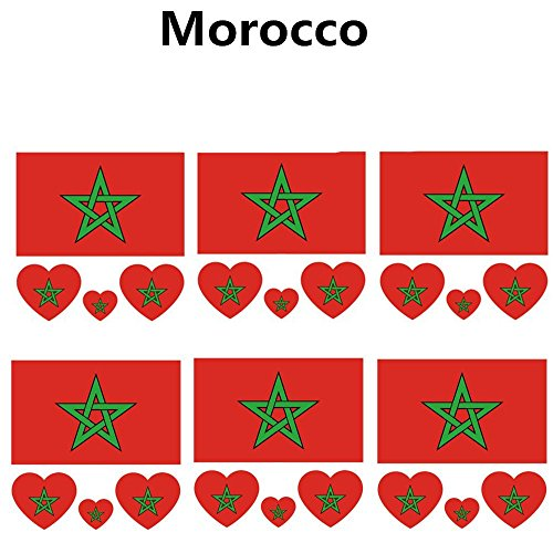 2018 World Cup FIFA National Flags Tattoo, Fashionable Temporary Morocco Flags Tattoo Face Body Sticker for Soccer Fans Watching Football Sports Game 6 Sheets
