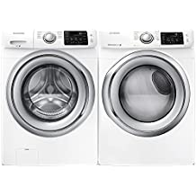 """Samsung Appliance White Front Load Laundry Pair with WF42H5200AW 27"""" Washer and DV42H5200EW 27"""" Electric Dryer"""