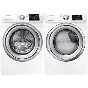 Samsung Appliance White Front Load Laundry Pair with WF42H5200AW 27' Washer and DV42H5200EW 27' Electric Dryer