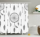 Arrow Shower Curtain by Ambesonne, Ethnic Anthique Authentic Tribal Dreamcatchers Feathers and Arrows Design Western, Fabric Bathroom Decor Set with Hooks, 84 Inches Extra Long, Black White