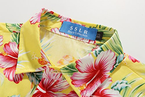 SSLR Big Boy's Hibiscus Cotton Short Sleeve Casual Button Down Hawaiian Shirt (X-Large(18-20), Bright Yellow) by SSLR (Image #3)
