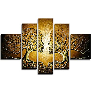 Wieco Art - Brown Human Tree Modern Abstract Contemporary 100% Hand Painted House Oil Paintings Artwork on Canvas Wall Art Ready to Hang for Home Decorations Wall Décor
