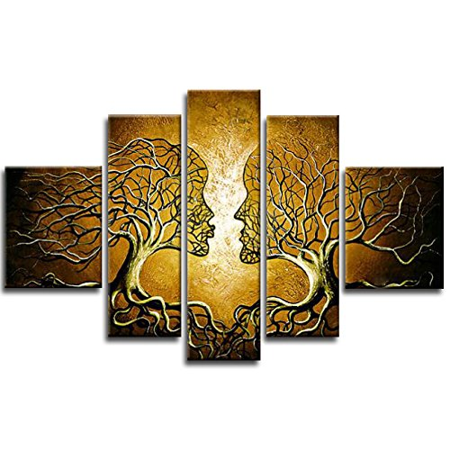 Wieco Art Brown Human Tree Abstract Oil Paintings on Canvas Wall Art Ready to Hang for Living Room Bedroom Home Decorations Modern 5 Piece 100% Hand Painted Stretched and Framed Contemporary Artwork by Wieco Art