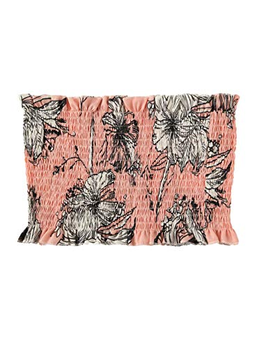 SheIn Women's Summer Off Shoulder Pleated Strapless Bandeau Tube Sexy Crop Top Tank Cami Large Floral Pink