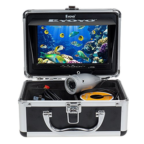 Eyoyo 7″ LCD Screen 50m Underwater Video Camera System Fishing Cam Ice/Boat Fish Finder DVR Recording with Sunshield (White Light/Silver Case)