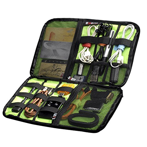 BUBM Universal Cable Organiser Electronics Accessories Case USB Drive Shuttle with Cable Wraps(Large Size) by lychee