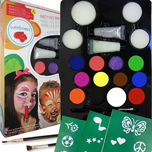 Weebumz Face Painting Top Color Party Pack for Kids. Quality Body Paint with Stencils, 4 Sponges, 2 Glitter Gels, 2 Brushes. Safe Non-Toxic Water Based+FREE Online Face Paints Guides & Tutorials