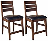 Ashley Furniture Signature Design – Larchmont Barstool Set – Pub Height – Upholstered – Vintage Casual – Set of 2 – Burnished Dark Brown