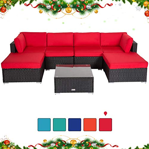 Peach Tree 7PCs Outdoor Patio Furniture Sectionals PE Wicker Rattan Sofa Set with 2 Ottomans Red (Rattan Modular)