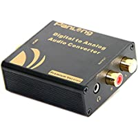 Panlong Premium Digital to Analog Audio Converter - Optical SPDIF Toslink/Coaxial to RCA L/R with 3.5mm Jack, 24-bit 192kHz DAC