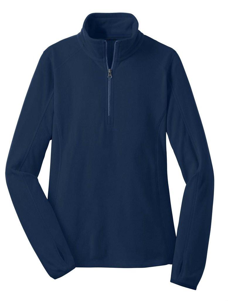 Joe's USA tm - Ladies Microfleece 1/2-Zip Pullover Sweatshirt-True Navy-2XL
