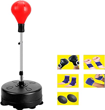Knock Out Boxing Punching Speed Bag with Adjustable Stand /& Gloves
