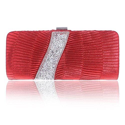 Damara Clutch Womens Bag Irregular Soft Pintuck Party Quilted Red vBFqvwr