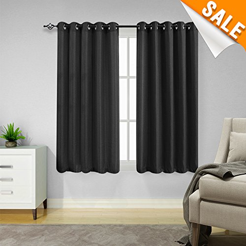 Lazzzy Black Window Curtain Panels Waffle Weave Textured