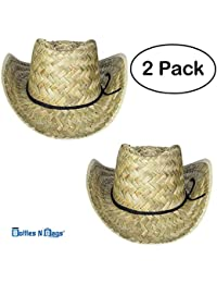 1770c1fdbba 2 Pack Woven Straw Cowboy Hats for Men and Women