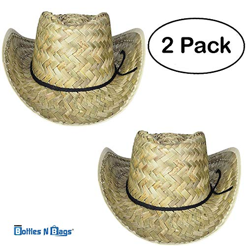 2 Pack Woven Straw Cowboy Hats for Men and Women, Great Rodeo and Outback Costume Accessory ()
