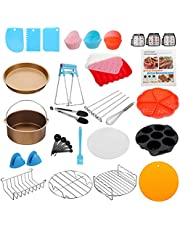 KITment 21PCS 8 inch Air Fryer Accessories Inserts with Recipe Cookbook Cake Pizza Oven Barbecue Frying Pan Tray Small Appliance Parts for 5.2QT 5.3QT 5.5QT 5.8QT 6.8QT Deep Fryer