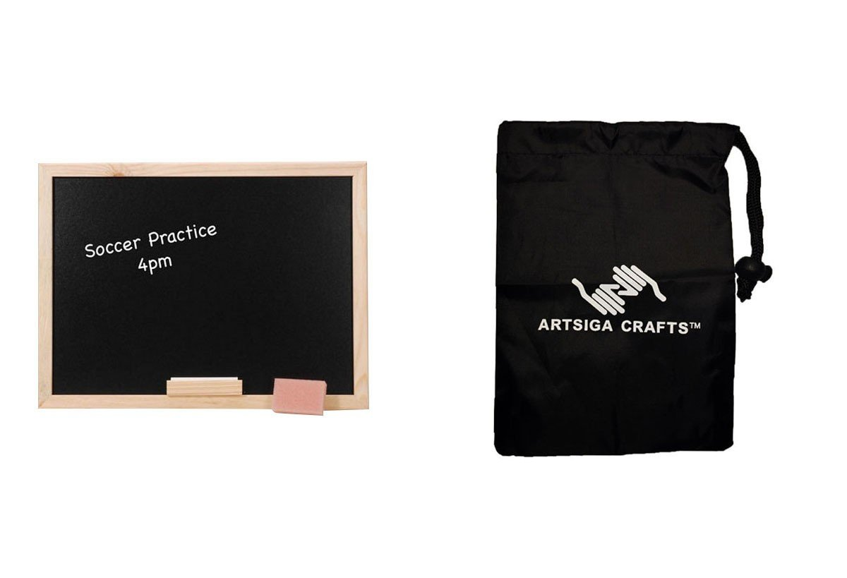 Darice Chalkboard Black Board w/ Wood Frame 12 x 16in. (10 Pack) 9172 76 bundled with 1 Artsiga Crafts Small Bag by Homeline Goods Memo Boards