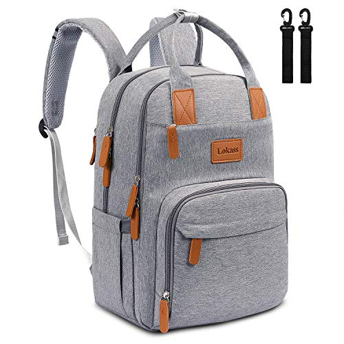 - UtoteBag Diaper Bag Backpack Anti-Thief Maternity Baby Nappy Bag with Removable Stroller Straps Multifunction Travel Backpack with Laptop Pocket, Luggage Strap for Boys Girls Women Men(15 inch,Grey)