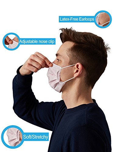 Distech™ Procedure Ear Loop Antiviral Face Masks Comfortable Use For Hours, surgical Mask, Flu Mask, Dentist Mask (500 pieces) (Pink) by DistechTM (Image #4)