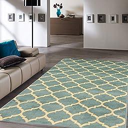 Ottomanson Royal Collection Trellis Teal Contemporary Moroccan Trellis Design Area Rug, 63\