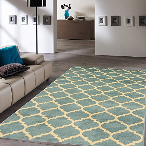 Ottomanson Royal Collection Trellis Teal Contemporary Moroccan Trellis Design Area Rug, 63