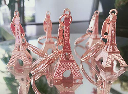 12 Pack Eiffel Tower Keychian Key Ring for Decoration, Wedding Gift and Souvenir. (Rose Gold)