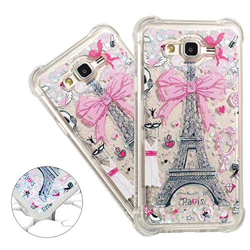 (HMTECHUS Galaxy J7 2015 case Unique Creative 3D Pattern Quicksand Floating Shiny Glitter Flowing Liquid Shockproof Protect Silicone Cover for Samsung Galaxy J7 2015 Bling Eiffel Tower YB)
