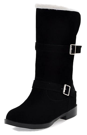 1a34b24f50b Amazon.com   Aisun Women's Comfy Warm Buckle Strap Round Toe Pull On ...