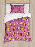 Lunarable Queen Twin Size Duvet Cover Set, Retro Cartoon Pattern of Coins Crowns and Rings on Fuchsia Backdrop, Decorative 2 Piece Bedding Set with 1 Pillow Sham, Pale Blue Fuchsia Yellow