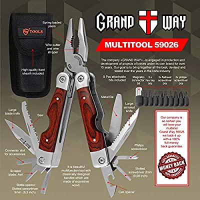 Multitool with Mini Tools Knife Pliers - Best Wooden Handle and Big Attachable Set Bits - Large Utility Multi Function Tool - Good Heavy Ultimate Multi-tool kit for Camping, Hunting - Grand Way 59026
