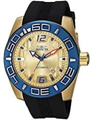 Invicta Mens Aviator Automatic Stainless Steel and Silicone Casual Watch, Color:Black (Model: 23532)