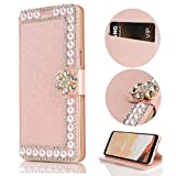Stysen Galaxy S8 Wallet Case,Galaxy S8 Glitter Flip Case,Shiny Pearl Rose Gold Bookstyle Strass Flower Buckle Wallet Case Cover for Samsung Galaxy S8-Flower,Rose Gold