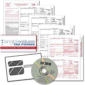 tangible values 1099 misc laser forms 4 part kit with envelopes plus tfp software for 50 individualssuppliers 2018