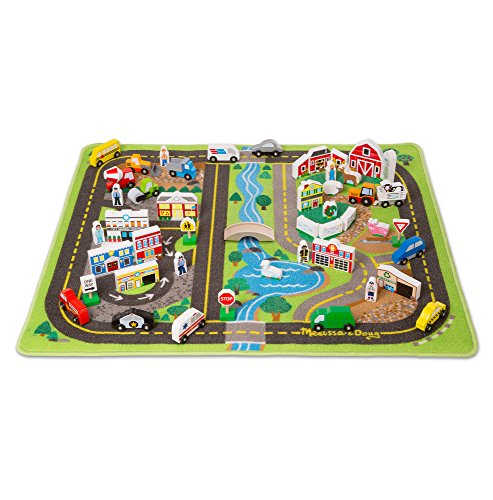 Melissa & Doug Deluxe Activity Road Rug Play Set with 49 Wooden Vehicles and Play (Melissa & Doug Border)