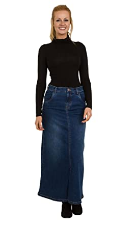 d455f7f2e5 Uskees Fearne Long Denim Skirt - Midwash Front Split Maxi Skirt Size 8-22  FEARNEMD