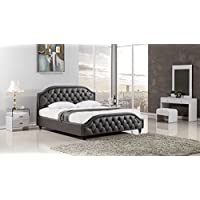 American Eagle Furniture Minton Collection Full Leather Air Fabric Bedroom Headboard and Footboard Bed, Eastern King, Dark Gray