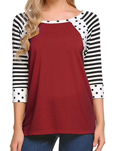 Zeagoo Women's Striped 3/4 Sleeve Polka Dots Print T-Shirts Casual Blouse Tops (Wine Red, S)