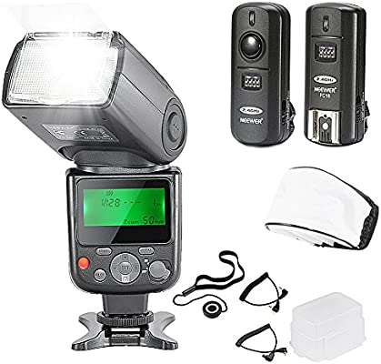 Lens Cap Holder NW-670 Flash, Soft//Hard Diffuser, 2 2 2.4G Wireless Trigger 1 Transmitter, 2 Receivers Neewer NW-670 TTL Flash Speedlite with LCD Display Kit for Canon DSLR Cameras,Includes: 2 , 1