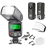 Neewer NW670 E-TTL Flash Kit for Canon DSLR Cameras,Includes:(1)Flash with LCD Screen+(1)2.4 GHz Wireless Trigger+(1)Hard & Soft Flash Diffuser+(1)Lens Cap Holder+C1 Cord+C3 Cord