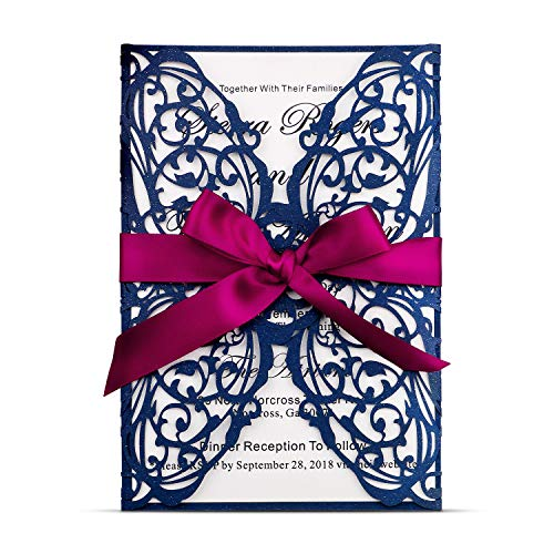 FEIYI 25 Pieces 5 x 7 inches Laser Cut Wedding Invitations Cards With Burgundy Color Ribbon For Birthday Baby Shower Wedding Rehearsal Dinner Invite (Navy Blue)