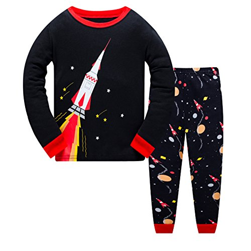 for Toddler Clothes Set Trian Truck Sleepwear Long Sleeve 100% Cotton 2 Piece Kids Pjs Size 1-7 Years ()