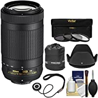 Nikon 70-300mm f/4.5-6.3G VR DX AF-P ED Zoom-Nikkor Lens with 3 Filters + Hood + Pouch Kit for D3300, D3400, D5500, D7100, D7200 Cameras