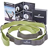 TheraPeace Physical Therapy Stretching Strap + EasyGuide: Elastic Stretch Band with 10 Loops - Yoga Workout Fitness Pilates Ballet Rope Stretcher for Foot Legs Hamstring Back